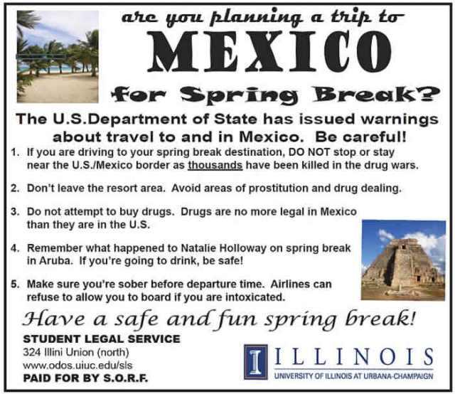 Alerta para springbreakers
